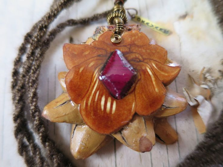 Knobcone Pine Cone Pendant Inlaid With Purple Heart Wood by OKAVARKpendants on Etsy https://www.etsy.com/listing/207185382/knobcone-pine-cone-pendant-inlaid-with