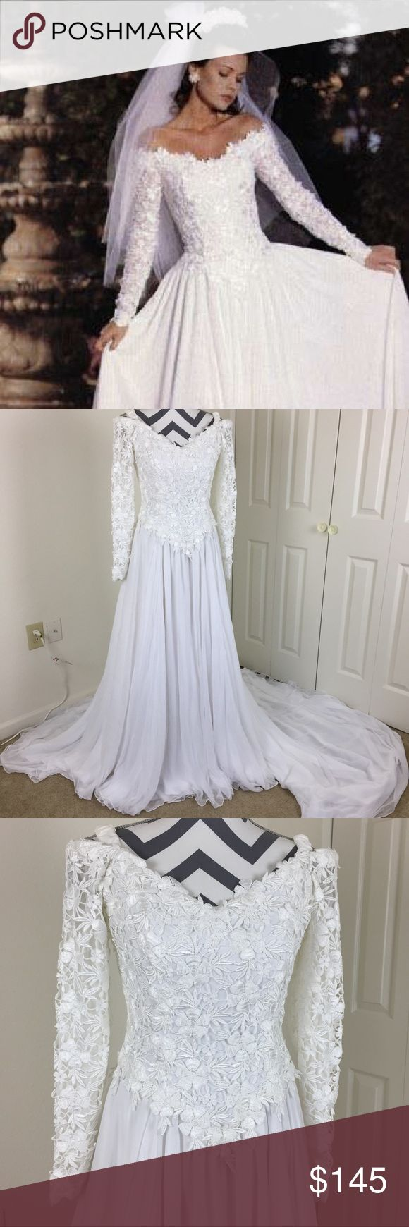 Vintage 90's Demetrios Wedding Dress Size 10 Gorgeous vintage off the shoulder Demetrios wedding dress with stunning lace detail on the bodice. Zips up the back. Classic style from the 90's! Buttons at the sleeves. (One of the buttons came off but will be included so it can be reattached) Size 10. Demetrios Dresses Wedding