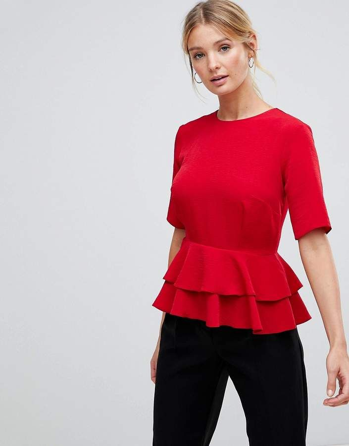 d5c2e92d96290 Red date night top ASOS Fuller Bust Double Pephem Top a cute top with a  cinched waist from Nordstrom   Bloomingdales boho modern  top  ad