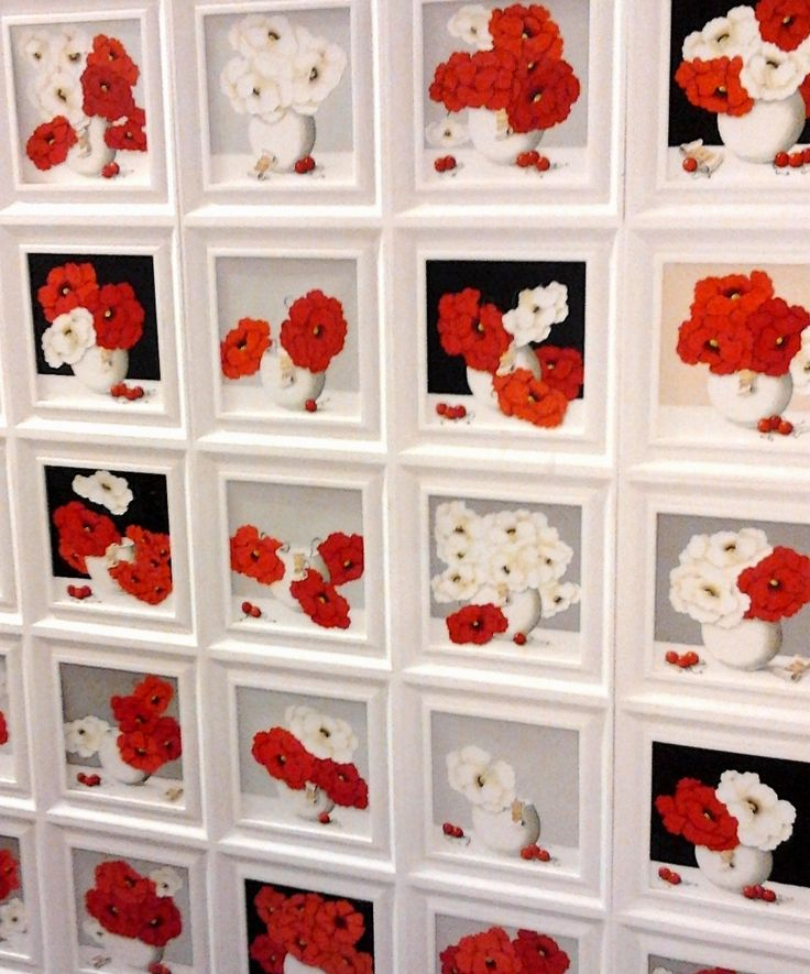 "The special compositions artist Chinaglia ""Poppies"" - modular panel (25x25 each) Ask information: crsgroup.13@gmail.com Link: http://www.mirabiliashop.com/studio%20chinaglia%20inglese.htm"