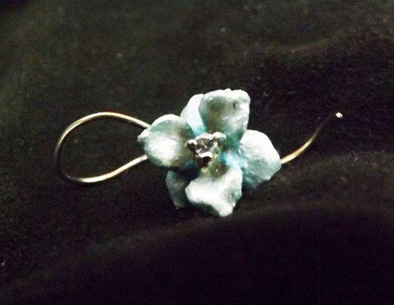 Lotus Blossom Earrings Silver Sculpture Enamel by BonTonJoyaux