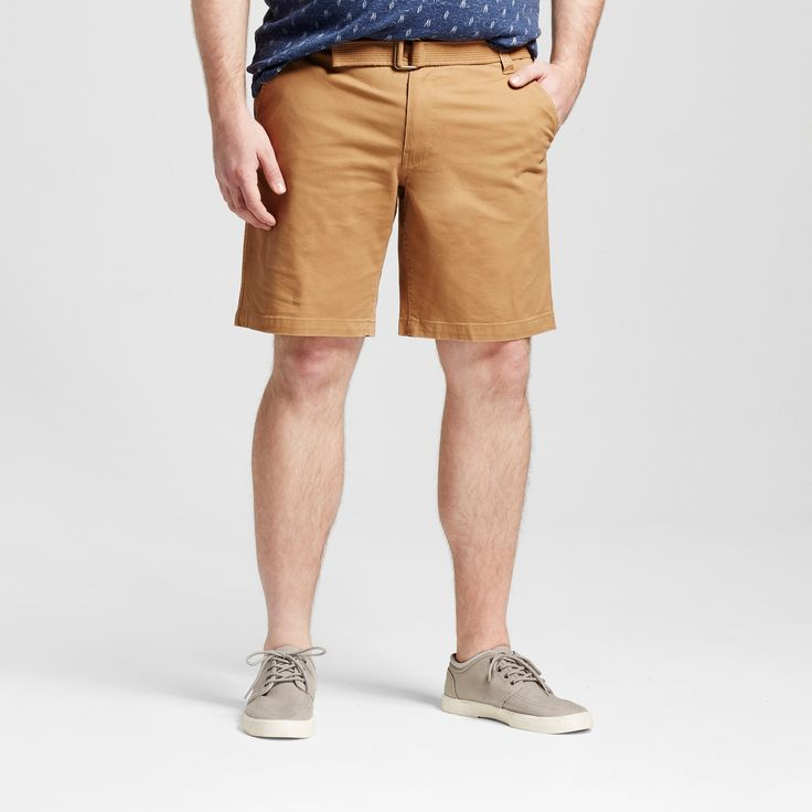 Men's Big & Tall Belted Flat Front Chino Shorts - Mossimo Supply Co. Brown 60