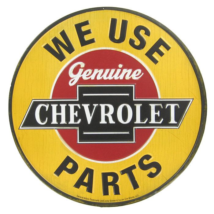 "Add some automobile-inspired vintage flair to your office, living room, shop, or man cave with this 12"" Genuine Chevrolet Parts Embossed Tin Sign! This retro sign features an eye-catching shade of yel"