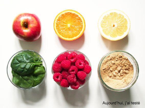 Orange, Apple, Raspberry, Spinach, Lemon & Ginger Smoothie, by Aujourd'hui, j'ai testé