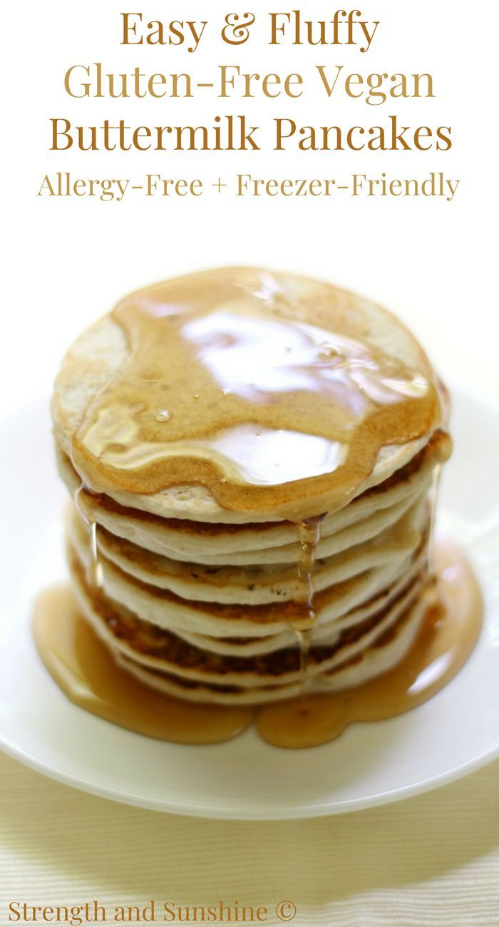 Easy Fluffy Gluten Free Vegan Buttermilk Pancakes Allergy Free Recipe Allergy Free Recipes Recipes Gluten Free Recipes For Breakfast