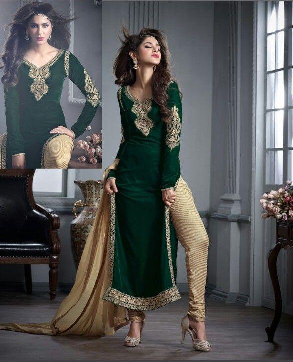 Green Velvet Churidar Kameez with Dupatta - Velvet - Fabric - SALWAR KAMEEZ - Women