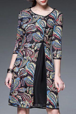 Irregular Half Sleeve Embroidery Vintage Dresses