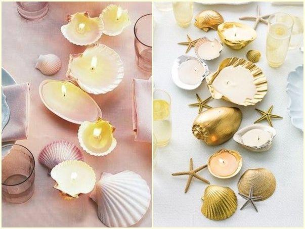 Souvenirs de boda con conchas de mar y parafina - velas decorativas