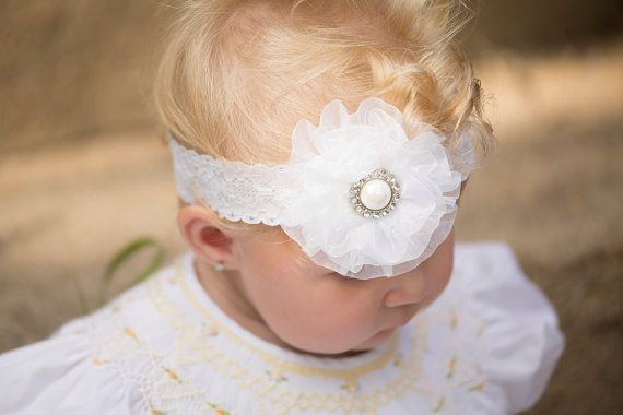 Christening Headband White Organza Headband by KennasKlippiesBows