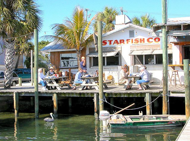 Dock view of Star Fish Company in Cortez , Florida voted best grouper sandwich by Sarasota