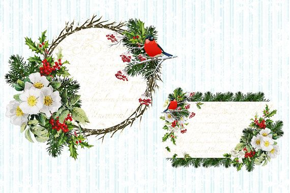 Natale Natale Clipart grafica Vintage Illustrations festivo