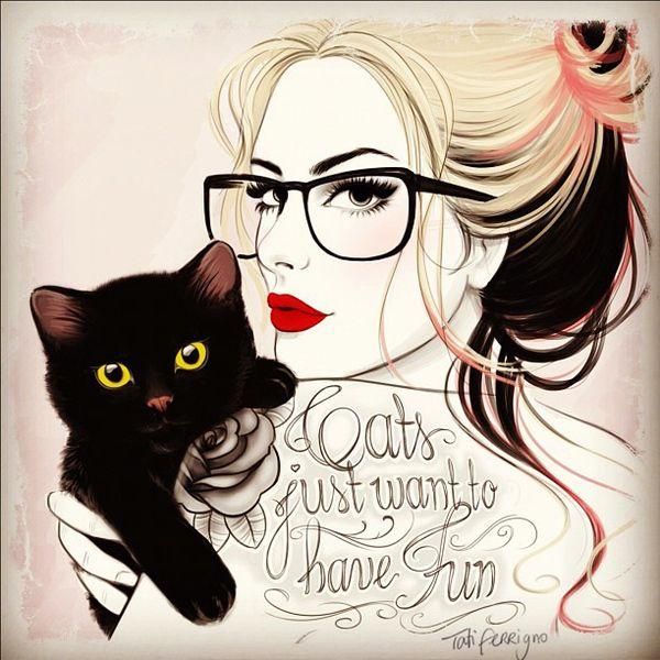 Love it! @Gigi Arredondo, @Jordan Lachemann    (Hipster Retro Girl with tattoo & cat by Tati Ferrigno, via Behance #tattoo #hispter #cat)