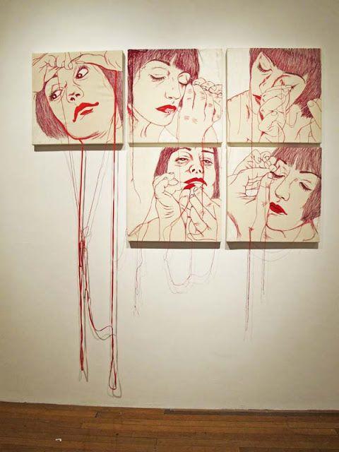 Ilaria Margutti, Mend of Me, 2009 embroidery on canvas