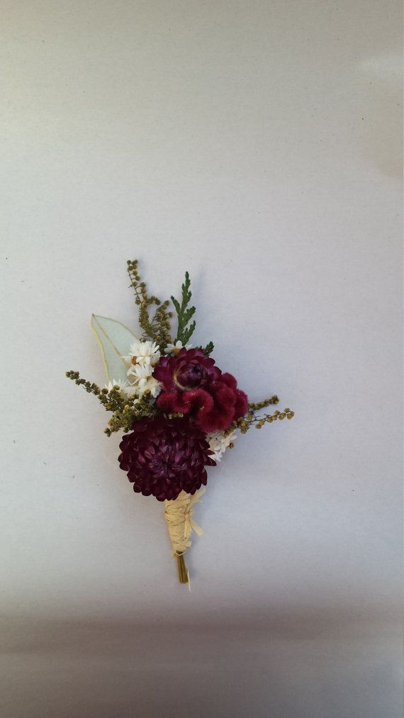 Burgundy and White Dried Flower Boutonniere by NotJustWeeds