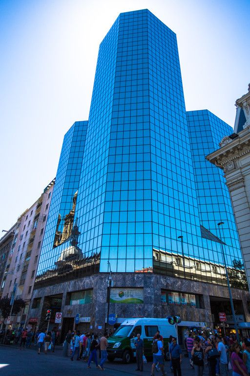 Skyscraper in Santiago, Chile -building with blue windows