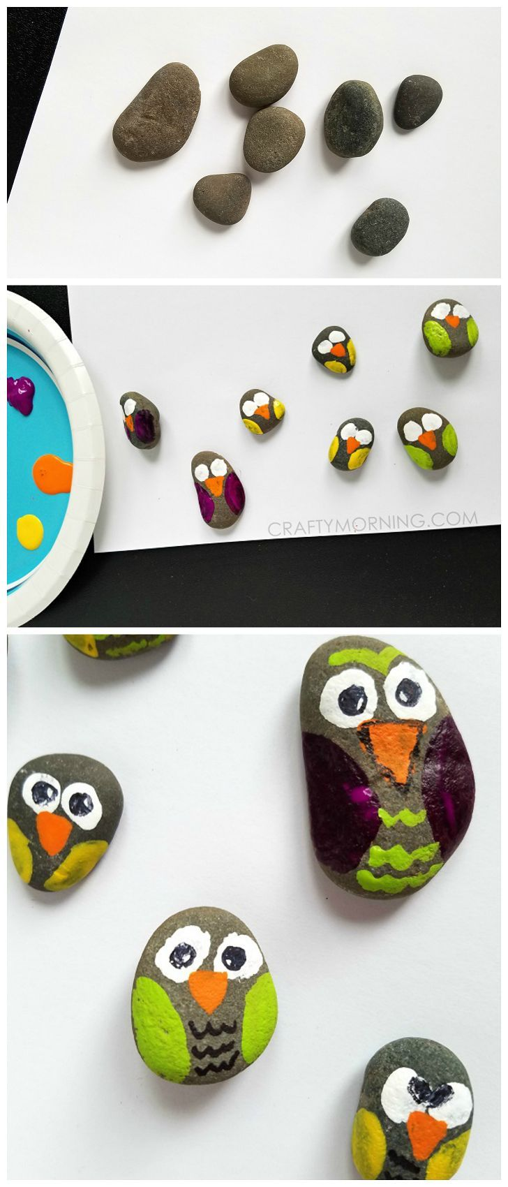 Rock Owl Craft for Kids to make! Super cute idea to find stones in nature.