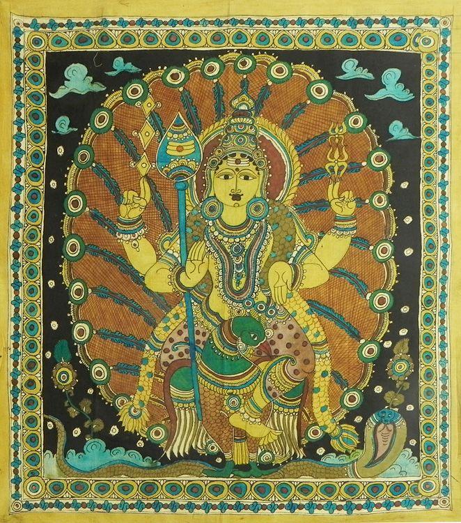Kartikeya (Kalamkari Paintings on Cotton - Unframed))