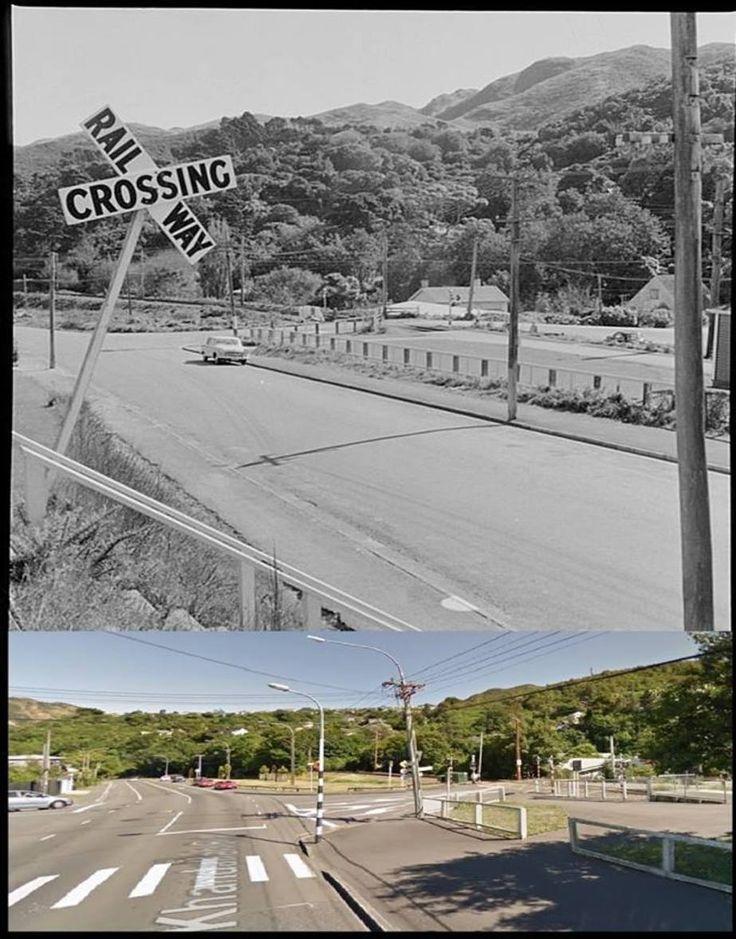 Simla Crescent crossing - 1958 & 2015 - taken from Khandallah Road - Old Wellington Region 15 Oct 2016