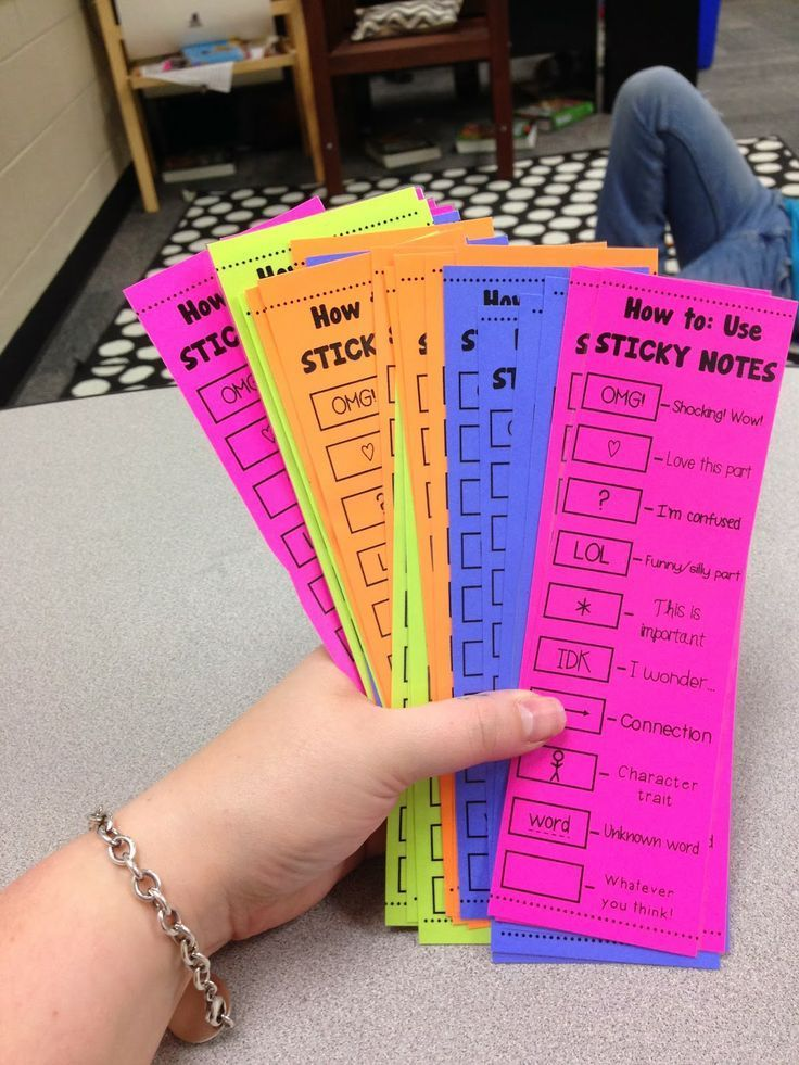 {Free} Sticky Note Bookmark to use with students. It teaches them how to use sticky notes WHILE reading to help them increase their skills! {Must try!!}