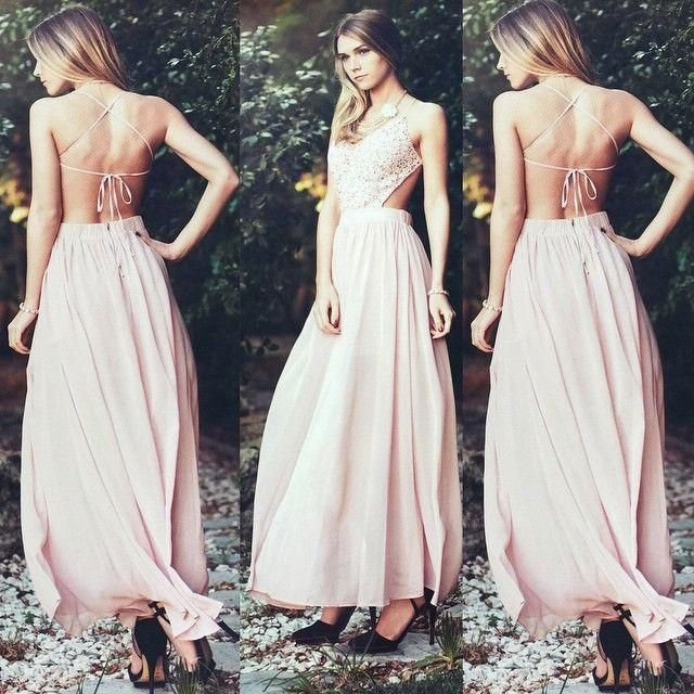 Boho Maxi Dress Sexy Prom Dresses Backless Ruffles Long Evening Party Formal Gowns A Line Custom Made Chiffon Pageant Dresses, $114.98 from bridefashion on m.dhgate.com | DHgate Mobile