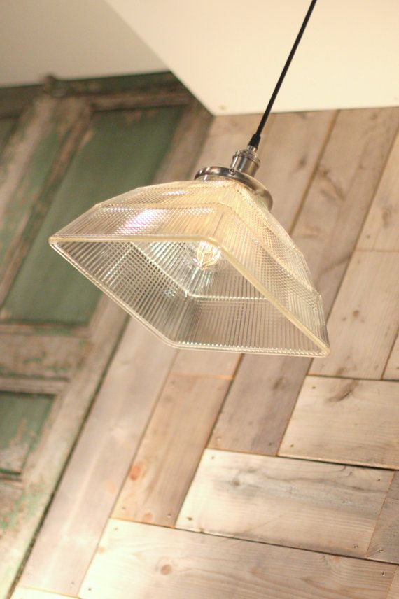 Pendant Light with Vintage Square Holophane Glass Shade and Exposed Socket & 47 best Pendant Lighting images on Pinterest   Pendant lighting ... azcodes.com