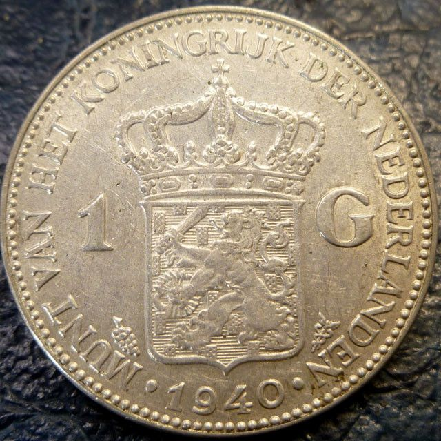 1940 HOLLAND  1 G 720     SILVER COIN CO 1422 silver coins ,Dutch silver coins,  , European coins,Netherlands silver coins