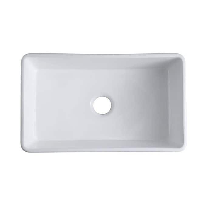 Topcraft 18 W Ceramic Kitchen Sink 30 08 In X 18 11 In White Single Bowl Drop In Apron Front Farmhouse Residential Ceramic Kitchen Sinks Sink Ceramic Kitchen