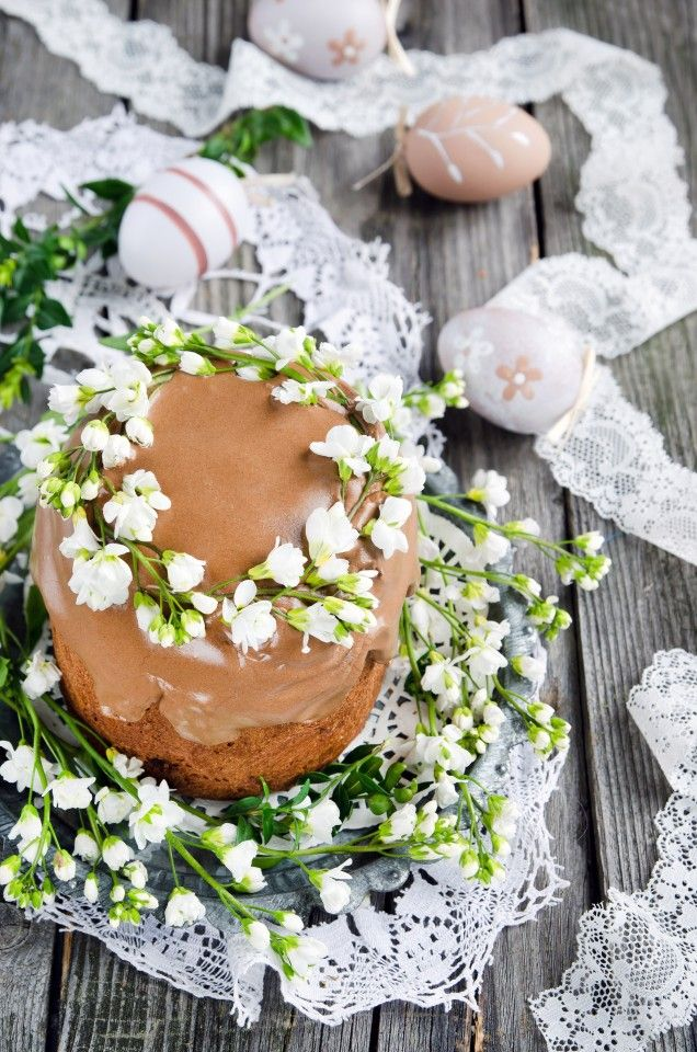 Chocolate Russian Easter cake Kulich/ Шоколадный кулич