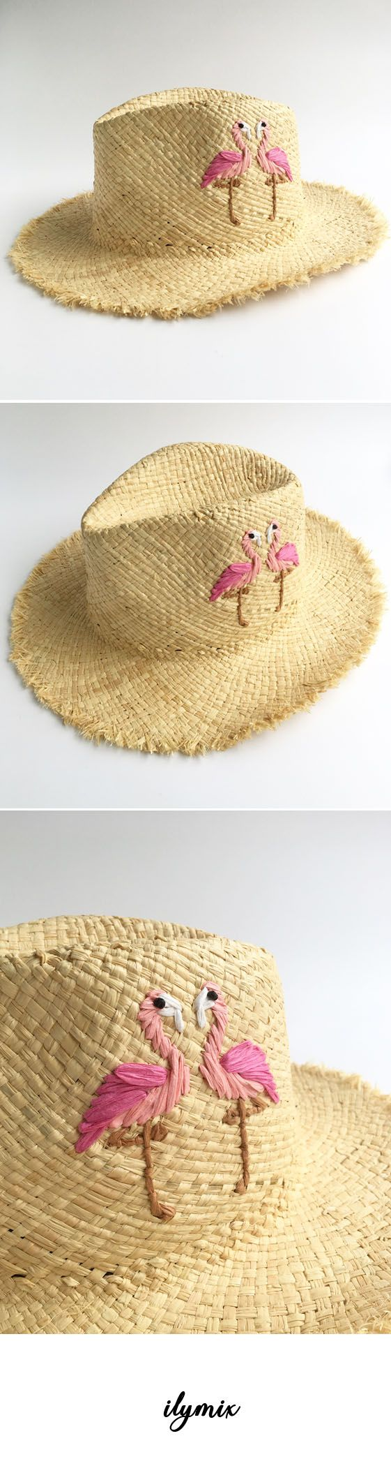 Flamingo embroidery straw sun hats