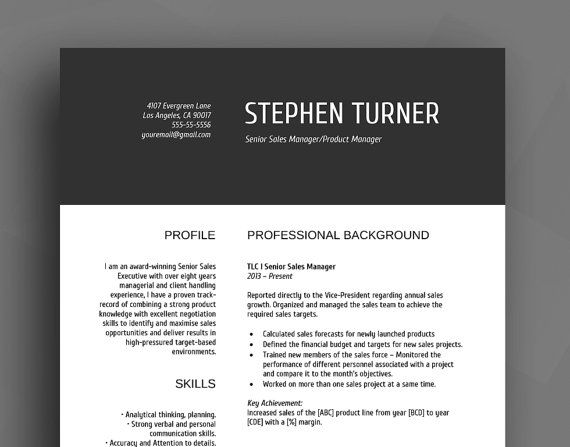 Professional Resume Template / CV Template  Cover by SuperCV