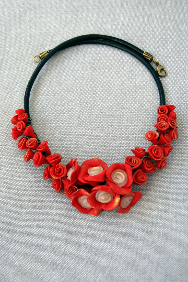 Statment Necklace - Christmas Gift - Gift For Her - Unique - Flower Necklace - Red & Translucent Color - Gold Metallic Powder - Polymer Clay by VasilikiHandcrafts on Etsy https://www.etsy.com/listing/492357799/statment-necklace-christmas-gift-gift