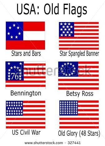 stock vector : Old USA Flags: Stars and Bars, Star Spangled Banner, Bennington, Betsy Ross, US Civil War, Old Glory