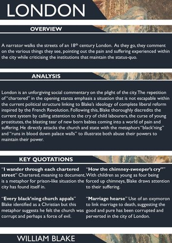 A poster on the poem London offering an overview, some analysis, and key quotations. It is ready to be printed on A3 paper.