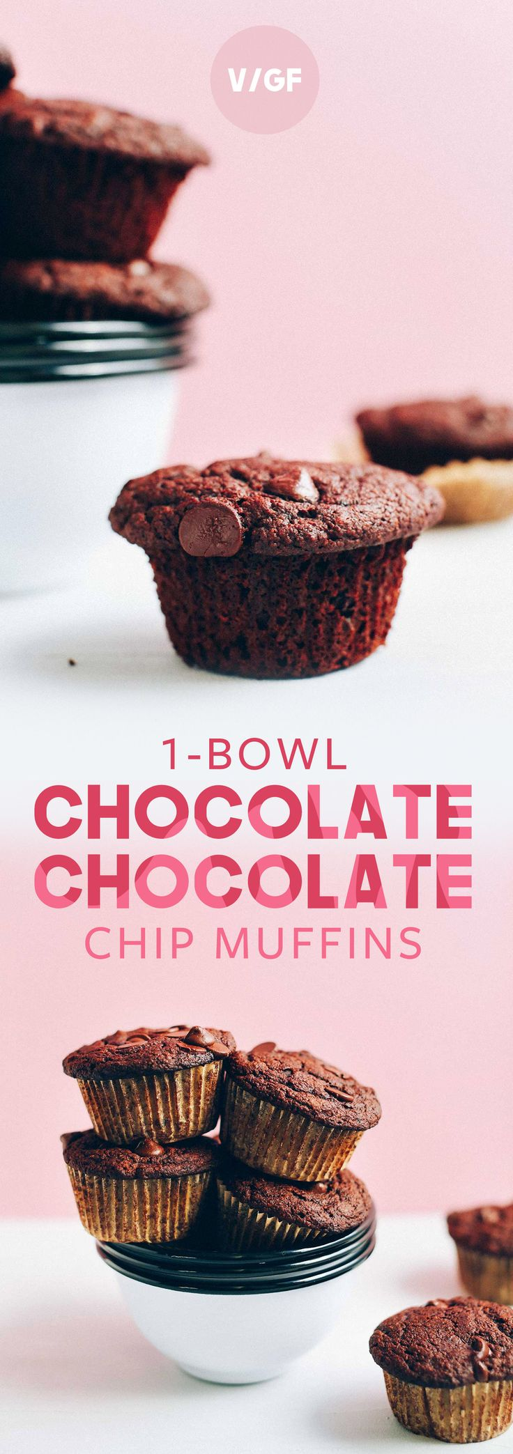 Tender, fluffy, vegan chocolate chocolate chip muffins made with in 1 bowl! Naturally sweet, insanely delicious, and so easy to make.