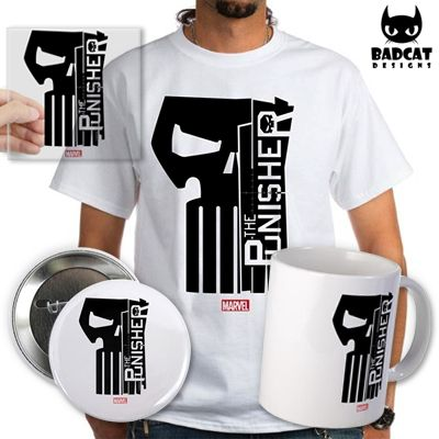 The Punisher is one of Marvel's grittiest hero and the Punisher skull is one of the most iconic comic book symbols. This Punisher design crosses the Punisher skull with the Punisher logo. #ThePunisher #FrankCastle #MarvelComics #TShirt #Tee #Mug #Button #Sticker