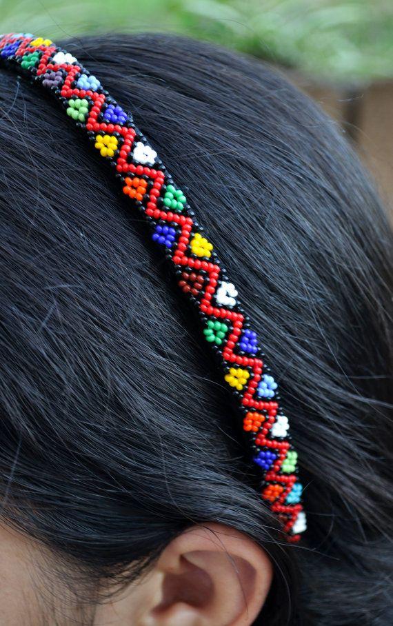 Beaded African HeadbandRed Beaded AlicebandHard by akwaabaAfrica