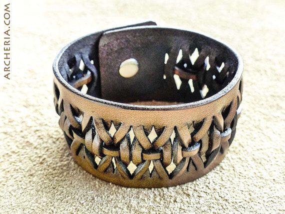 Braided brown leather cuff wristband handmade