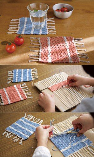 making your own coasters. cardboard box cut up make notches to hold vertical string and start weaving.