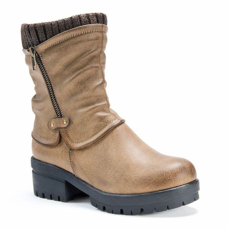 Women's Muk Luks Brenda Slouch Ankle Boots - Khaki (Green) 7