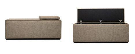 Celočalouněný taburet / lavice Otto s úložným prostorem se uplatní v předsíni jako skrytý botník s posezením k přezouvání, v obýváku jako taburet nebo v ložnici jako úložný box na lůžkoviny, cena 11 950 Kč; DEKADO