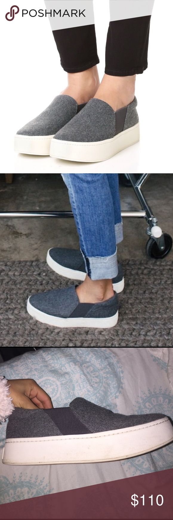 Vince Gray Platform Sneakers Gray Wool Material. Slightly worn. Vince Shoes Sneakers