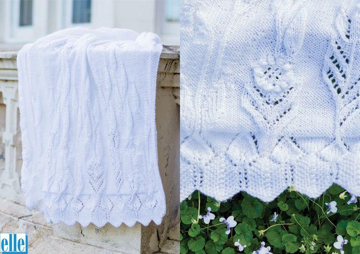 Blanket  Brand: Elle Count: Double Knit Yarn: Babykins Width x Length: 98 cm x 100 cm