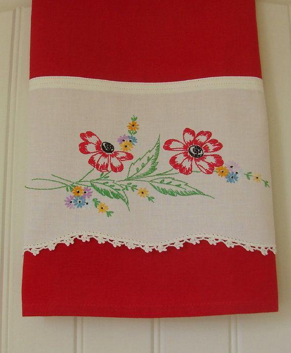 Recycled Vintage Pillowcase to Upcycled Tea Towel - Prairie WIld Flower - Homespun Home Decor