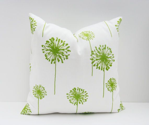 Throw Pillow Cover 20x20 Green Pillow Cover Dandelion Chartreuse Pillow Lime Green Pillow Printed Fabric both sides