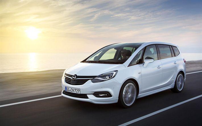 Download wallpapers Opel Zafira, 4k, 2018 cars, compact vans, new Zafira, Opel