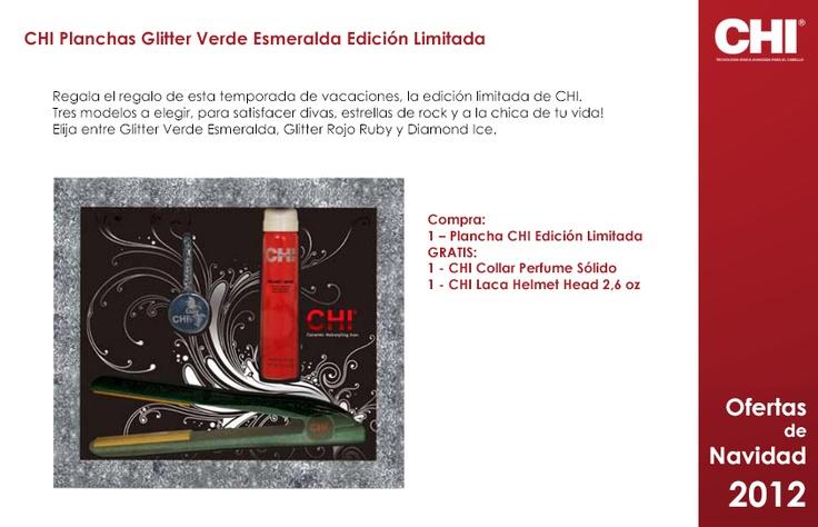 Chi Planchas Glitter edición limitada. Elige el color de tu plancha: Verde Esmeralda, Rojo Ruby o Diamond Ice.  Incluye GRATIS collar perfume sólido y laca Helmet Head 2´6 0z. Un regalo muy completo.