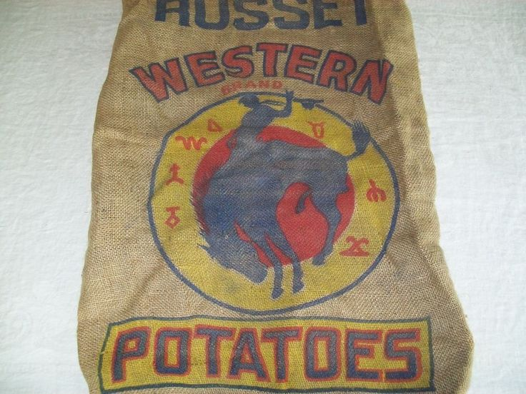 VINTAGE BURLAP POTATO SACK BAG WESTERN HORSE COWBOY 100 LB.  | Collectibles, Linens & Textiles (1930-Now), Feed & Flour Sacks | eBay!
