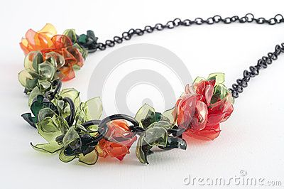 Ecojewelry necklace from recycled plastic bottles by Andreaster, via Dreamstime