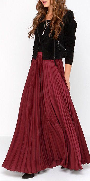 Burgundy pleated maxi skirt