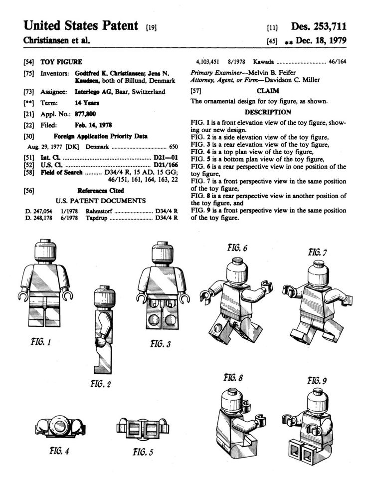LEGO Minifig. US Patent D253711 issued December 18,1979